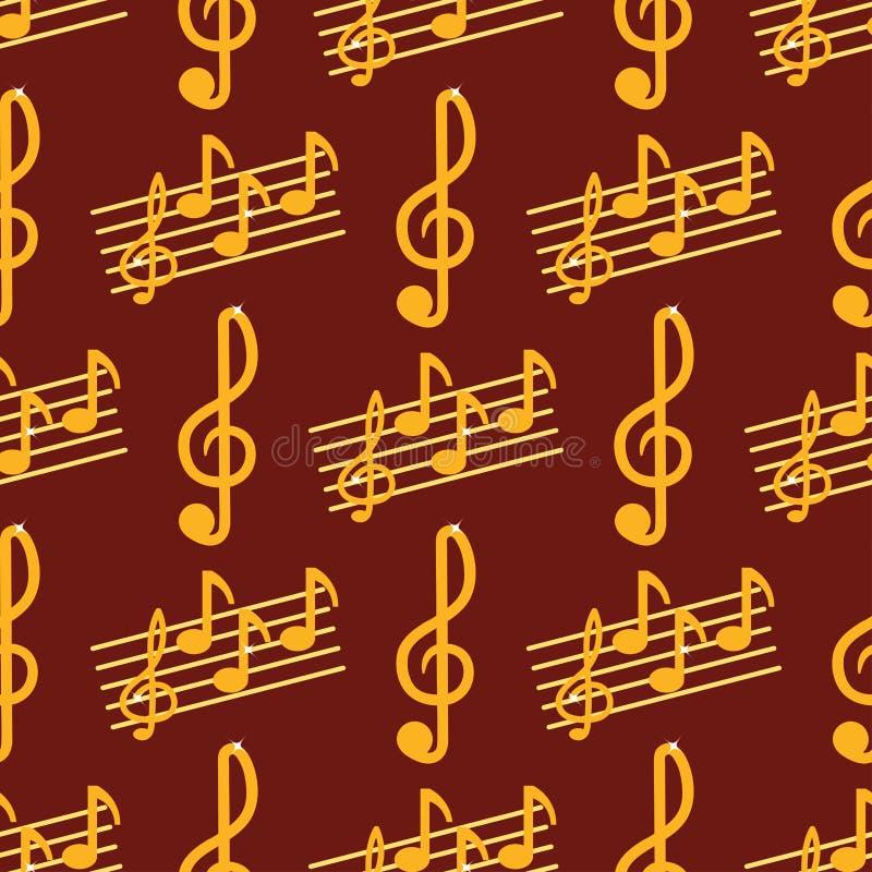 传染媒介音乐笔记曲调标志无缝的样式背景传染媒介例证挥动合理的图表谱号署名 皇族释放例证