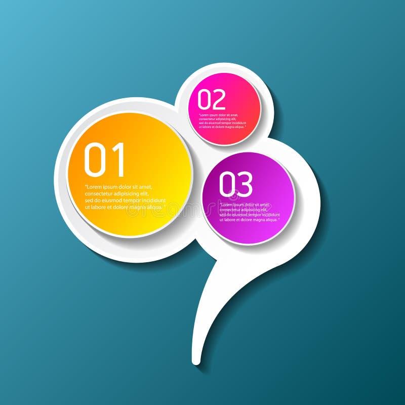 传染媒介颜色现代进展纸横幅设置与三选择或步可以为企业infographics使用 向量例证