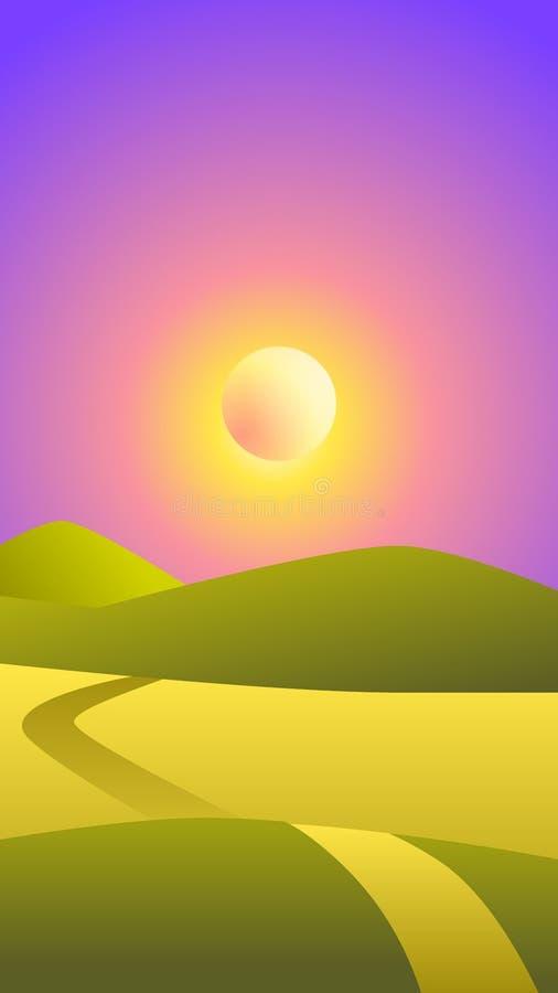 传染媒介风景例证-绿色领域和太阳在天空在平衡时间,电话屏幕保护程序 皇族释放例证