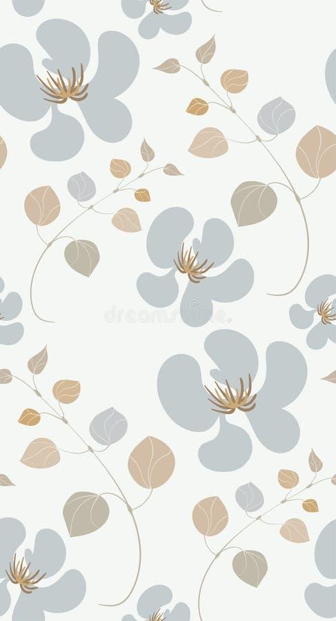 传染媒介风格化现代无缝的花卉样式斯堪的纳维亚人 库存例证