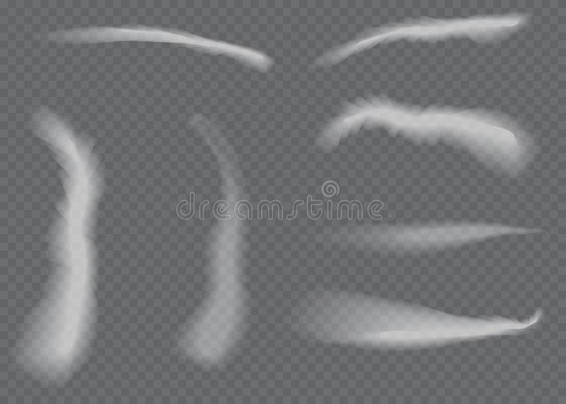 传染媒介飞机凝结尾迹 在透明背景隔绝的烟 皇族释放例证