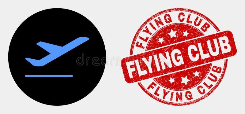 传染媒介飞机离开象和难看的东西飞行俱乐部封印 向量例证