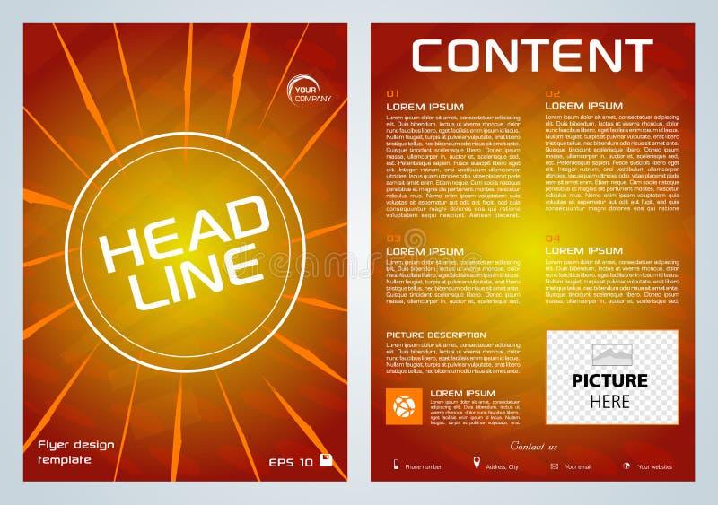 传染媒介飞行物、公司业务、年终报告、小册子设计和盖子介绍与橙色线在红色背景 库存例证