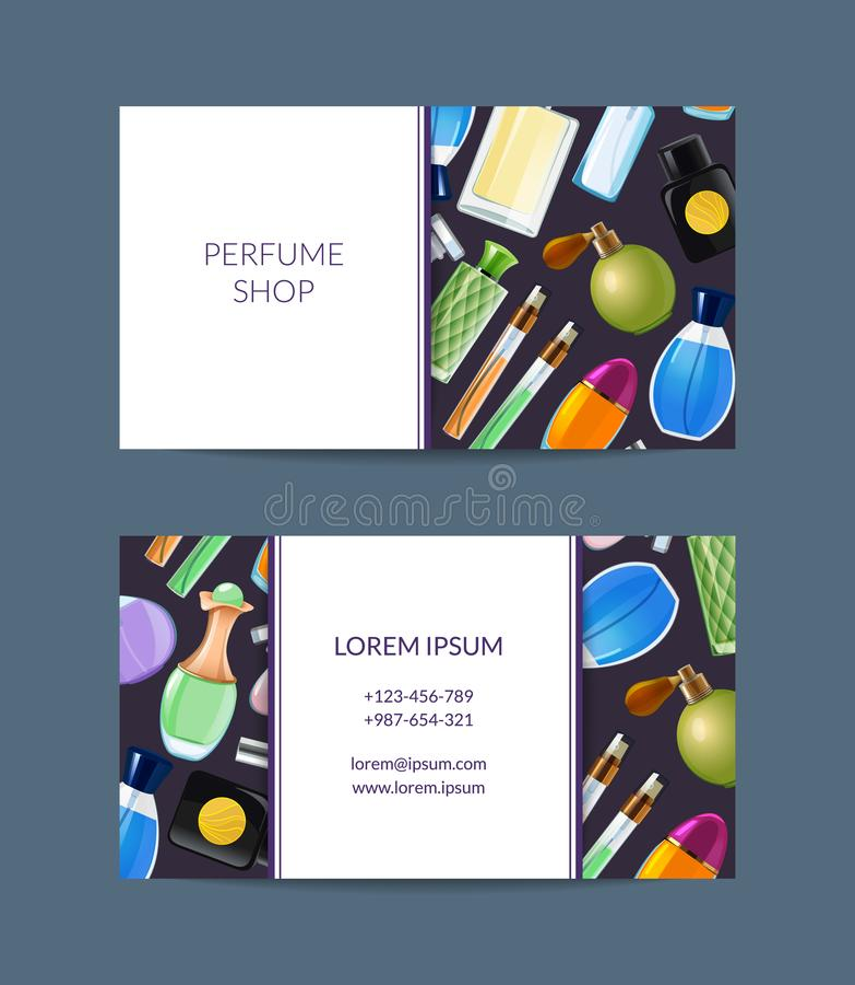 传染媒介香水瓶芬芳商店例证的名片 皇族释放例证