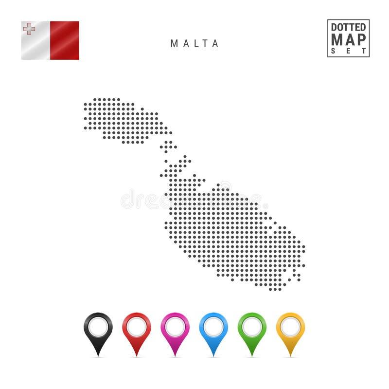 传染媒介马耳他被加点的地图  马耳他简单的剪影  马耳他国旗  套多彩多姿的地图标志 皇族释放例证