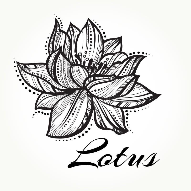传染媒介高详细的美丽的莲花 纹身花刺,瑜伽, spiritualy 被隔绝的被