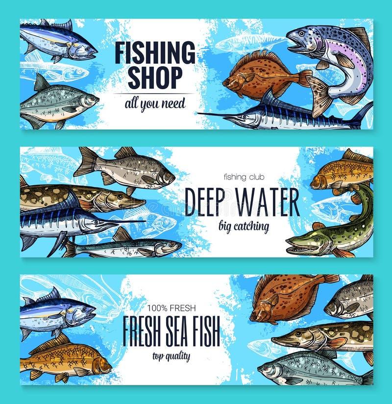 传染媒介鱼剪影横幅钓鱼的商店 向量例证
