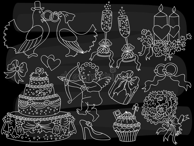 传染媒介黑板婚礼乱画集合 传染媒介减速火箭的婚礼白垩剪影元素 皇族释放例证