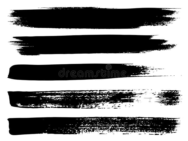 传染媒介黑油漆手工制造创造性的刷子冲程 库存例证