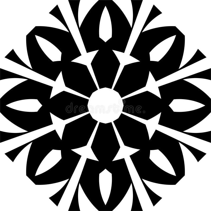 传染媒介黑白开花的摘要几何mandalapattern 库存例证