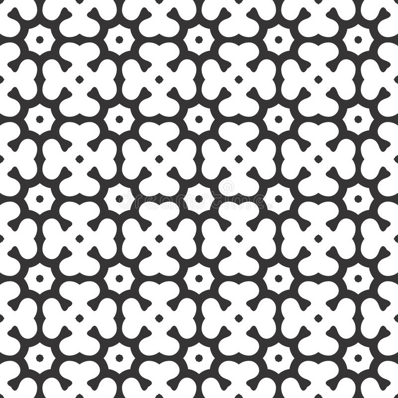 传染媒介黑白抽象八角形物和三叶草离开无缝的样式或例证 库存例证