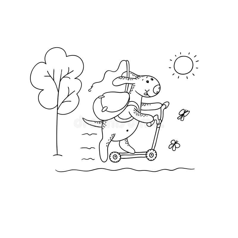 传染媒介黑白的剪影滑稽的动画片小狗 字符狗乘坐有背包和一根钓鱼竿的一辆滑行车 步行 向量例证