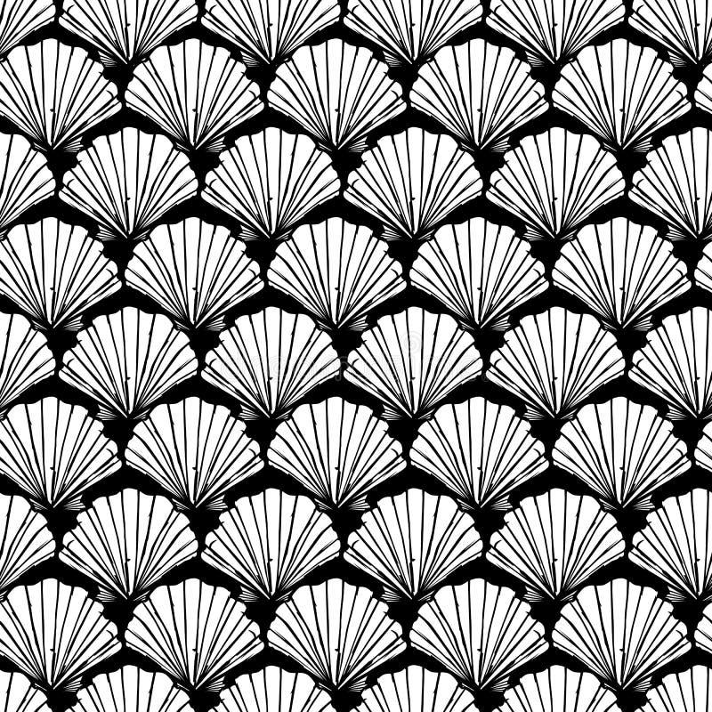 传染媒介黑白贝壳重复样式 适用于缎带包装、纺织品和墙纸 向量例证