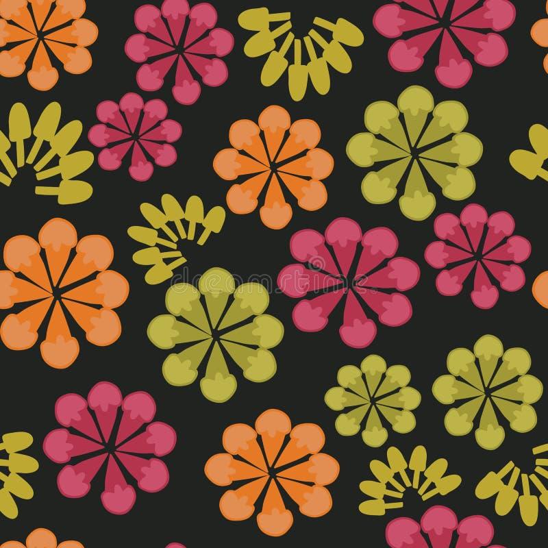 传染媒介黑色大胆的花卉无缝的重复样式背景 库存例证