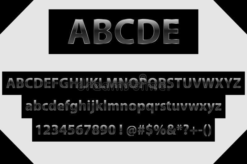传染媒介黑色字母表信件、数字和标志 金属梯度字体 被转动的专属字母表信件 向量例证