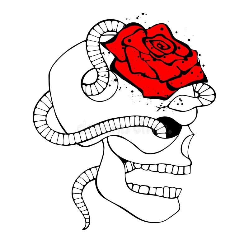 传染媒介黑色白色红色手拉的例证,有蛇的头骨,上升了牙,人的印刷品恐怖剪影面孔T恤杉的 向量例证