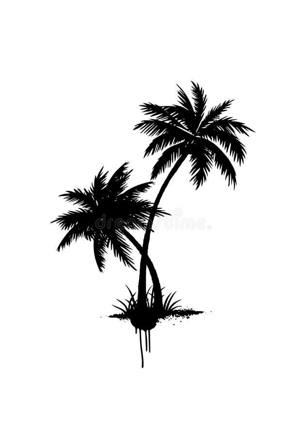传染媒介黑色难看的东西被隔绝的棕榈树 r 皇族释放例证
