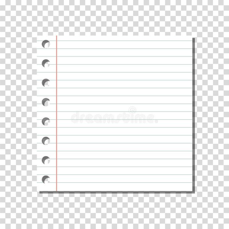 传染媒介:在透明背景的空白的线性被统治的笔记本页 库存例证