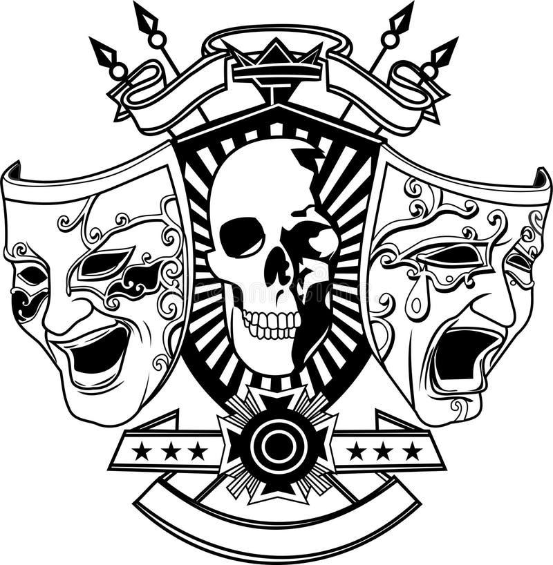传染媒介-两面具和头骨骼 皇族释放例证