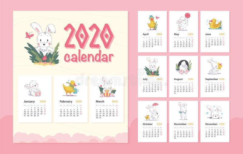 传染媒介2020年婴孩日历与逗人喜爱的白色兔宝宝动物字符&一点黄色鸭子步行的设计模板,站立,坐 皇族释放例证