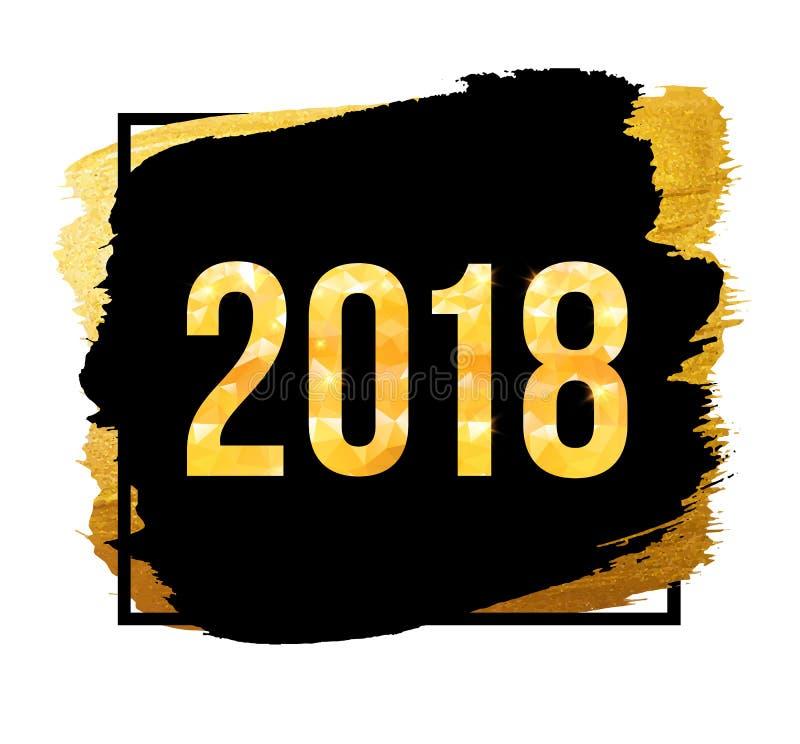 传染媒介2018年新年快乐背景 与五彩纸屑的金黄数字在黑背景 皇族释放例证