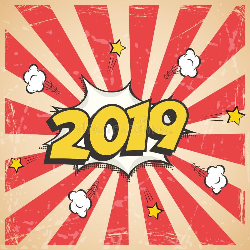 传染媒介2019新年减速火箭的设计 2019新年漫画书样式明信片或贺卡图片