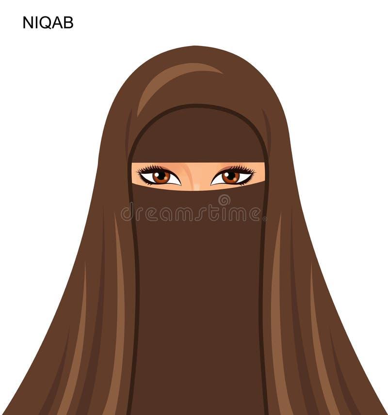 传染媒介-阿拉伯niqab样式,美丽的阿拉伯回教妇女- Illu 向量例证