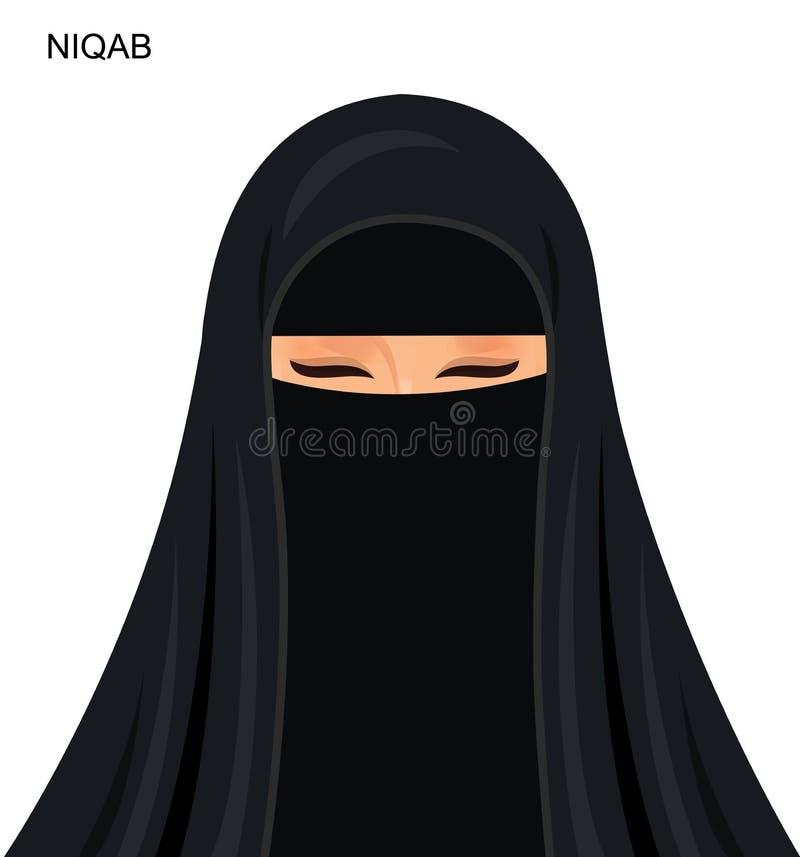 传染媒介-黑niqab样式,美丽的阿拉伯回教妇女- Illu 库存例证