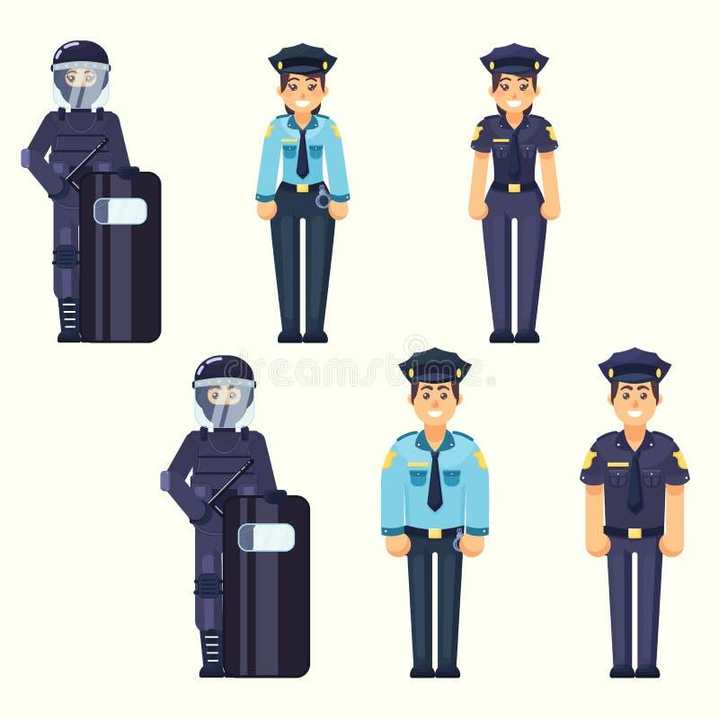 传染媒介-警察,女警,特种部队战士逗人喜爱的愉快的警察供以人员和运作在一致的传染媒介官员我的妇女代理 库存例证