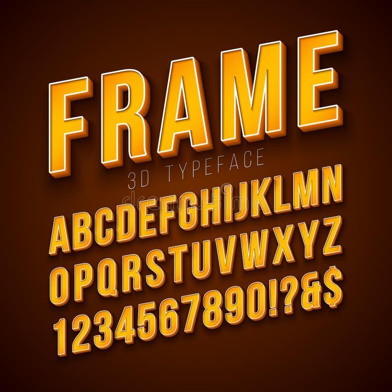 传染媒介3d与框架的字母表在红色背景的字体和阴影 与ABC,数字的现代字体设计收藏和 皇族释放例证