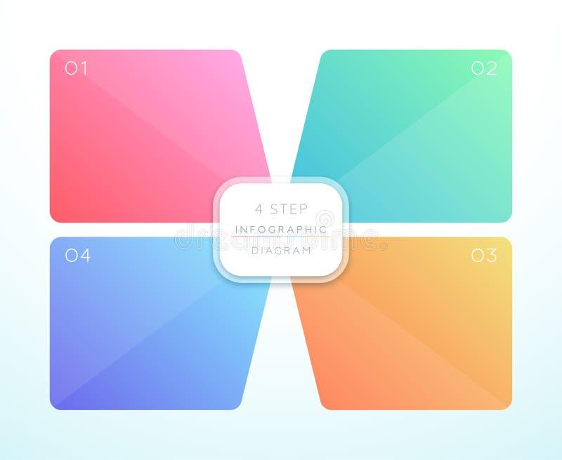 传染媒介3d五颜六色4方形的Infographic设计 皇族释放例证