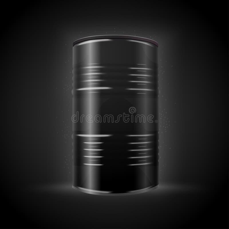 传染媒介3d现实黑暗的桶,隔绝在黑色 库存例证