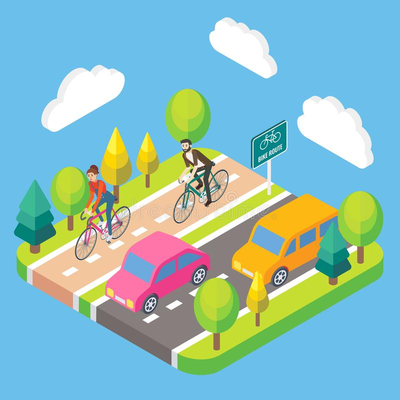 传染媒介3d等量自行车路线概念例证 向量例证