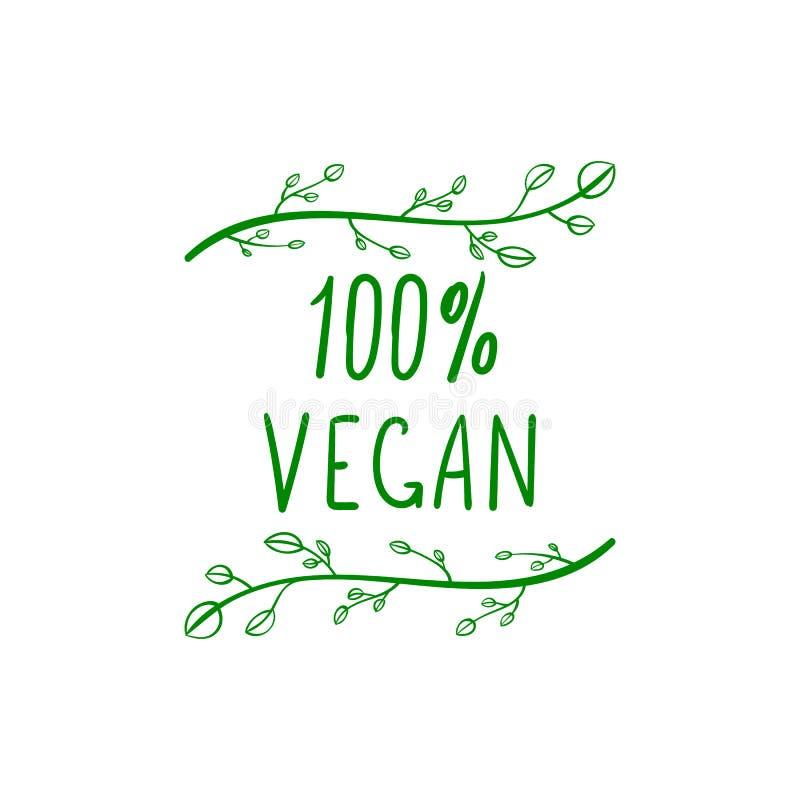 传染媒介100 Persents素食主义者字法,绿色手拉的设计元素Isoalted 库存例证