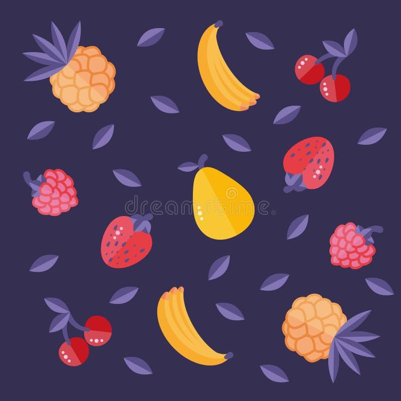 传染媒介baban草莓莓樱桃梨菠萝 免版税图库摄影