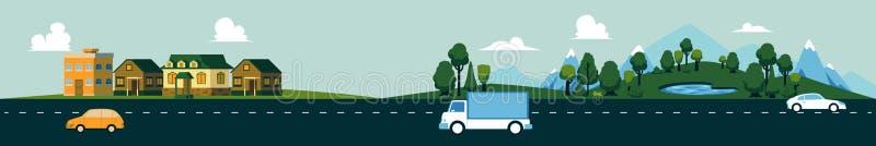 传染媒介counry路风景卡车汽车山 皇族释放例证