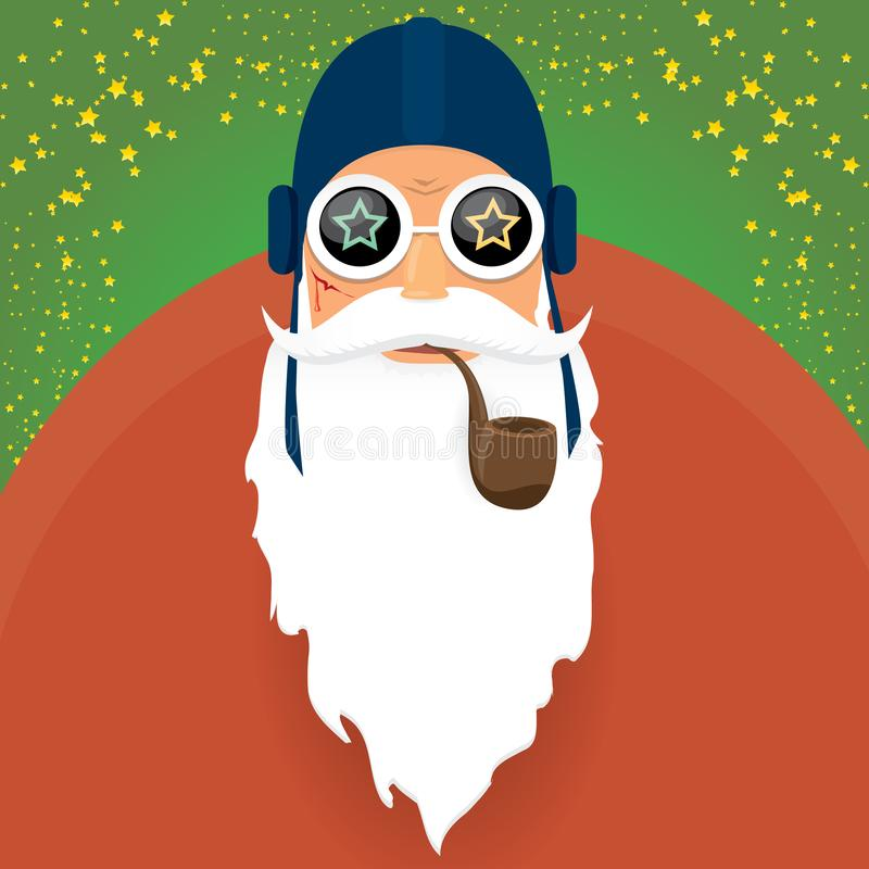 传染媒介DJ岩石n在绿色圣诞节正方形滚动与烟斗、被隔绝的圣诞老人胡子和质朴的圣诞老人帽子的圣诞老人项目 向量例证