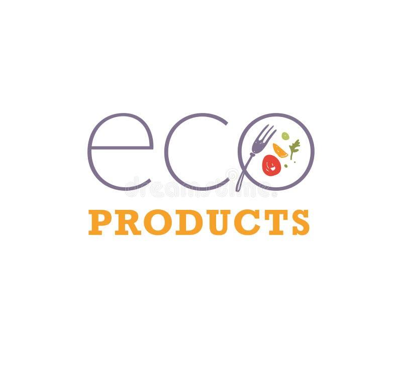 传染媒介eco产品食物商标与在白色背景隔绝的盘、膳食和叉子象的设计模板 皇族释放例证