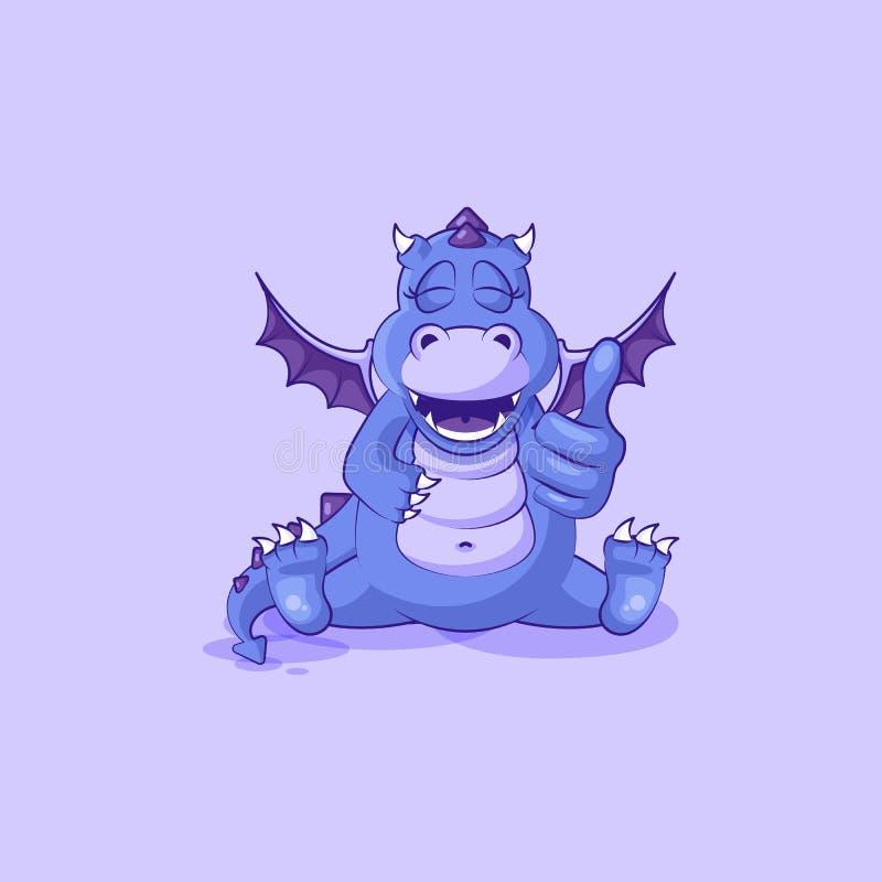 传染媒介Emoji字符动画片龙恐龙批准与赞许贴纸意思号 库存例证