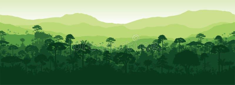 传染媒介Gayana水平的无缝的热带雨林密林森林背景 皇族释放例证