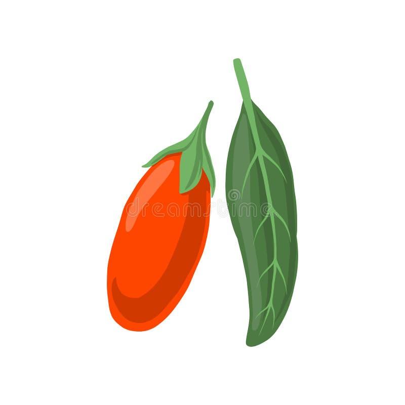 传染媒介goji莓果和叶子 库存例证