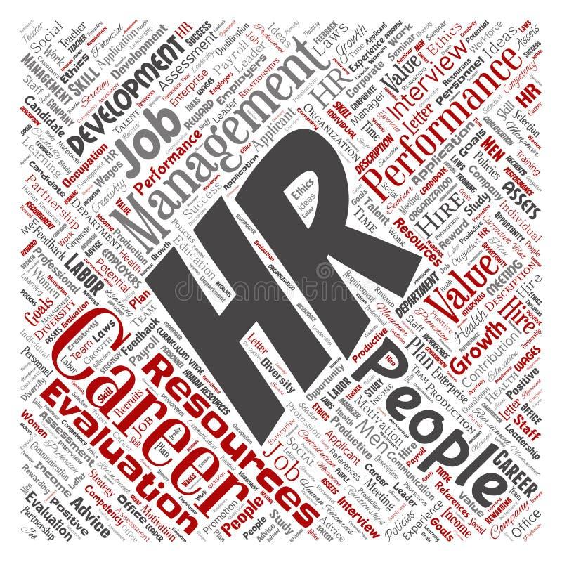传染媒介hr或人力资源职业发展管理 向量例证