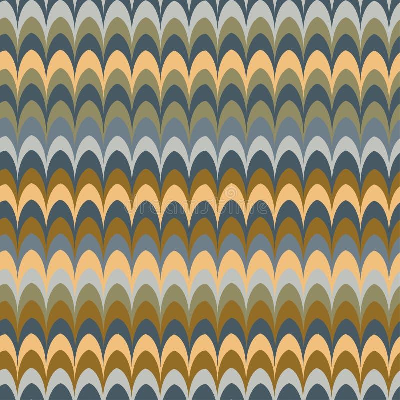 传染媒介ikat波浪红色羽毛减速火箭的颜色无缝的样式 向量例证