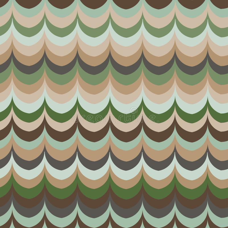 传染媒介ikat波浪绿色羽毛减速火箭的颜色无缝的样式 向量例证