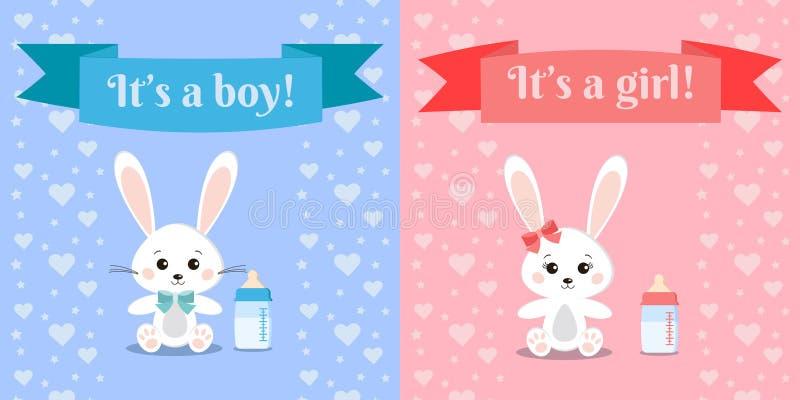 传染媒介illusrtation用逗人喜爱和甜兔宝宝男孩和女孩兔子和乳瓶 库存例证