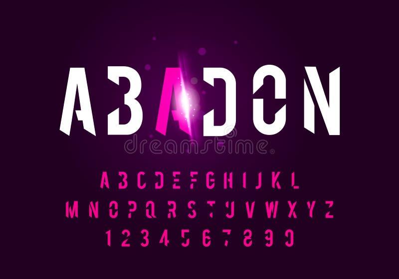 传染媒介illustraton炫耀现代字母表字体 技术印刷术未来字体大写 库存例证