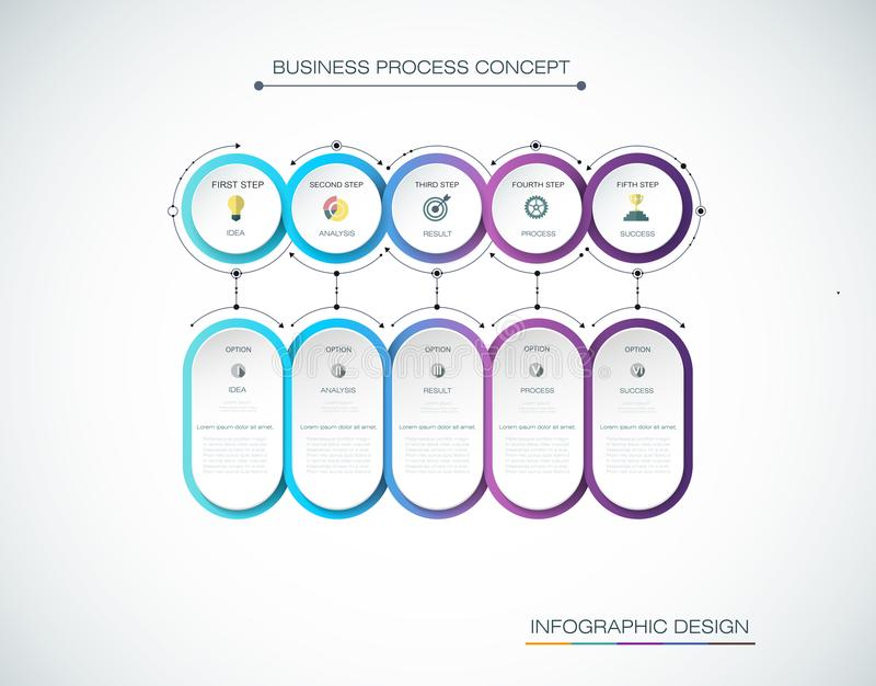 传染媒介Infographic与象的标签设计和5选择或者步 企业概念的Infographics 库存例证