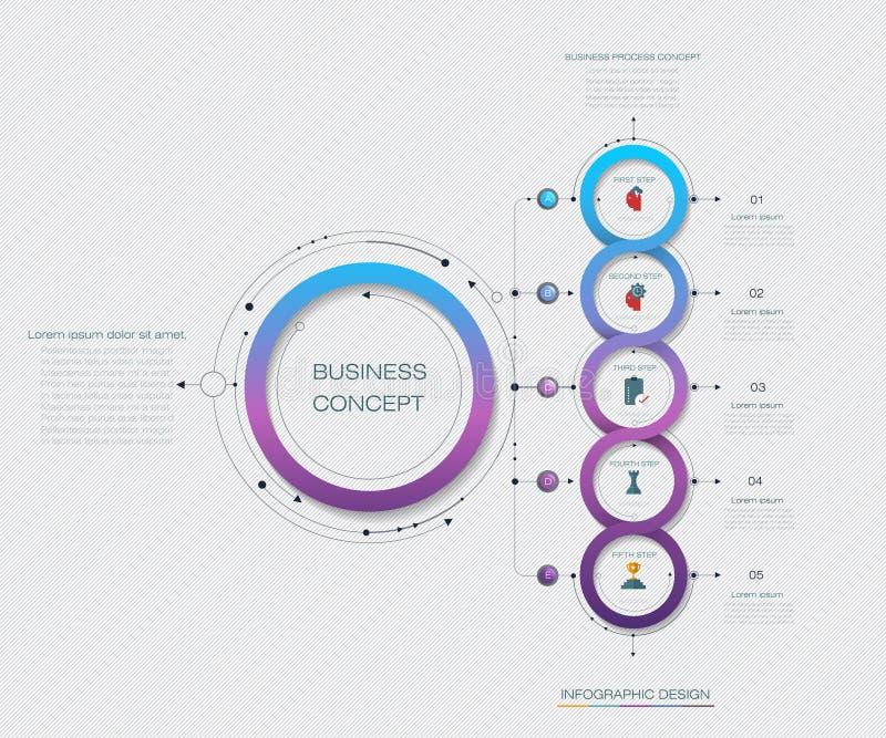 传染媒介Infographic与5选择或步的标签设计 向量例证