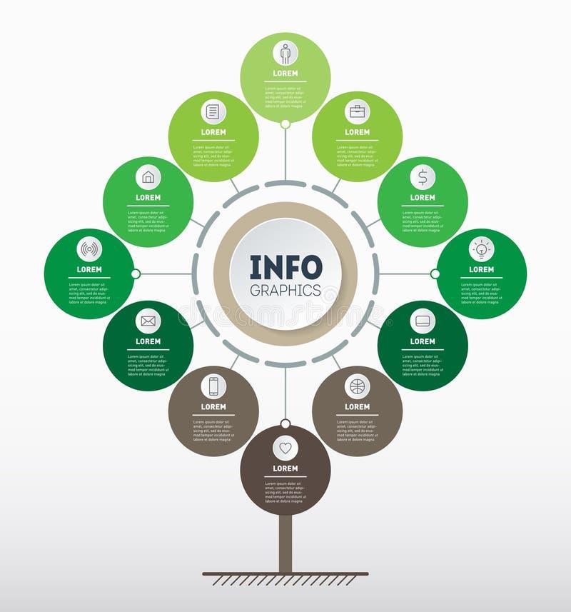 传染媒介infographic技术或教育过程与12个点或月 树、信息图或者图网模板  库存例证
