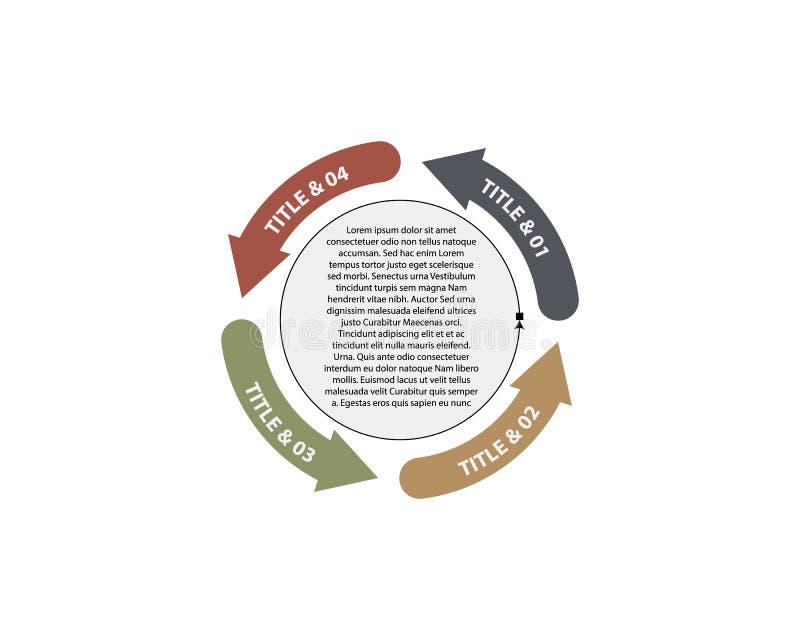 传染媒介infographic的圈子箭头 图、图表、介绍和图的模板 与4个选择的企业概念 向量例证
